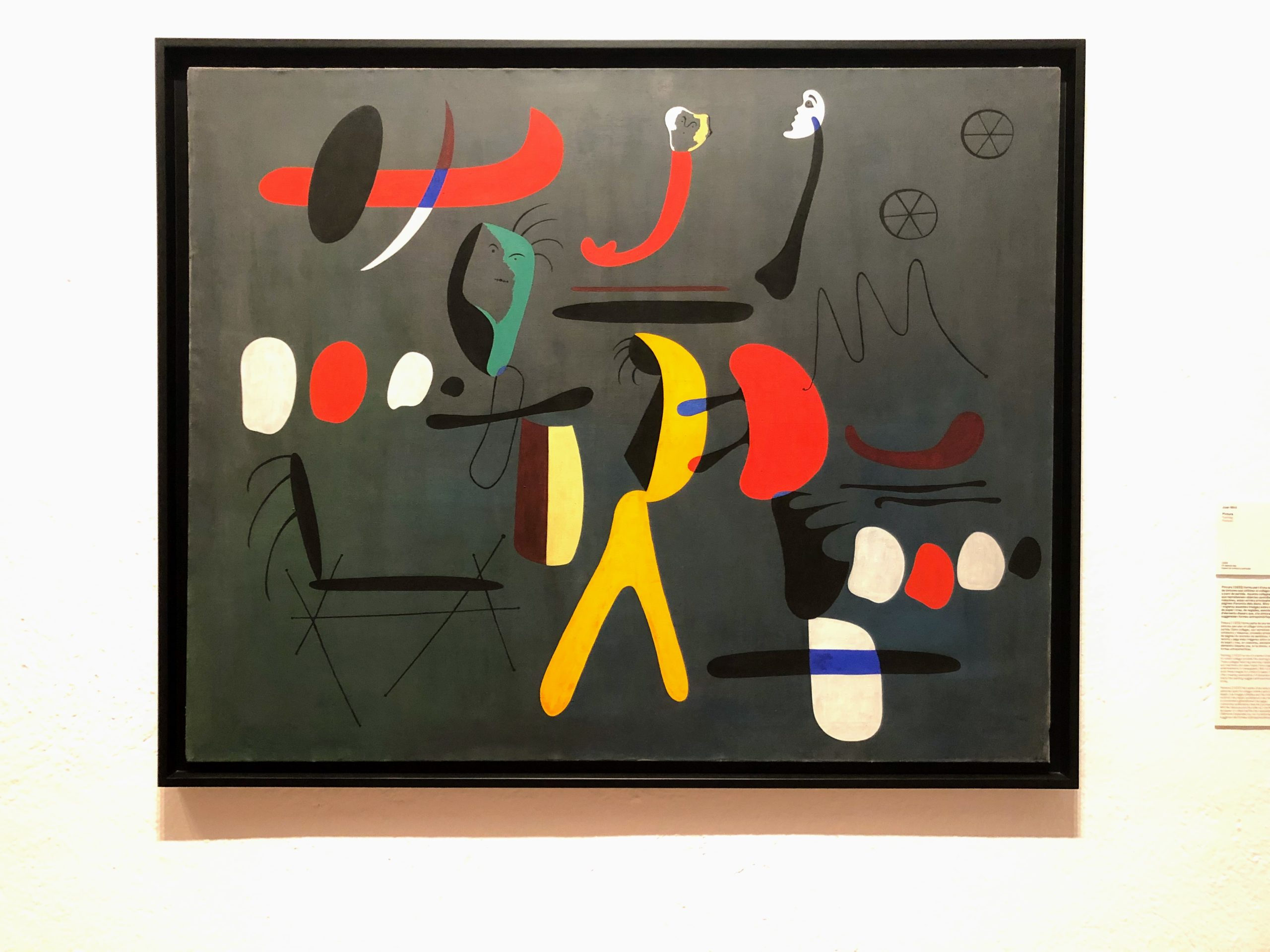 Miró painting with bright shapes on a dark background